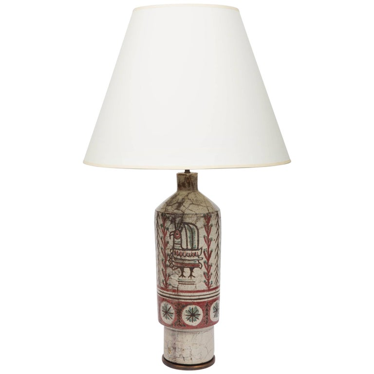 Bird and Flowers Table Lamp in Stoneware by Gustave Reynaud For Sale
