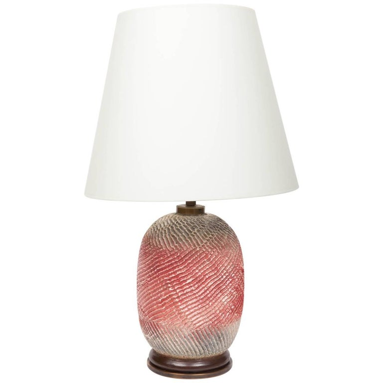 Textural Ceramic Table Lamp In Rose And Grey With Bronze Base By Stil Keramos For