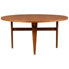 "Round Oak Dining Table with Recessed ""Keyhole"" Tapered Legs by Hans J. Wegner"