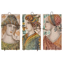 Set of Three Italian Decorative Glazed Terracotta Tiles with Figural Decoration