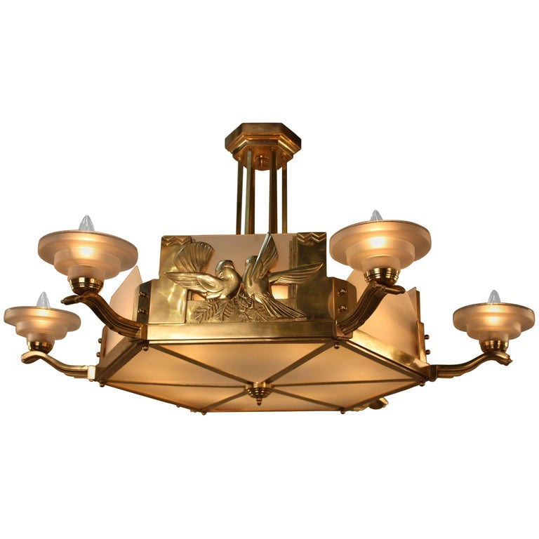 French 1930s Art Deco Bronze Chandelier