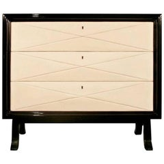 Art Deco Style Chest of Drawers in Natural Goatskin and Black Lacquered Wood