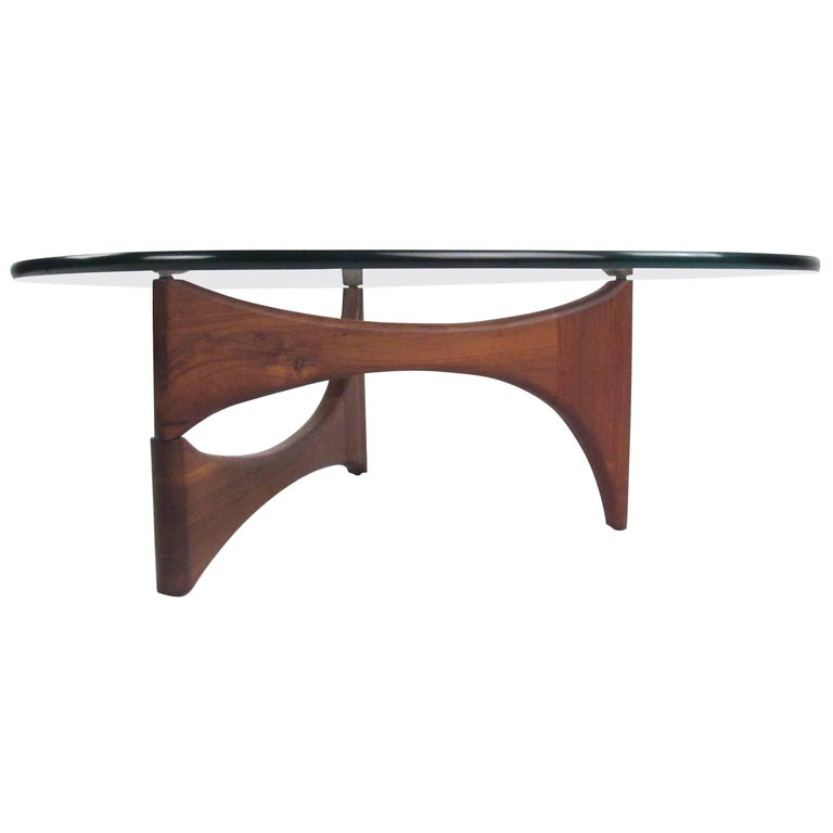 Noguchi Style Triangular Glass Top Coffee Table For Sale
