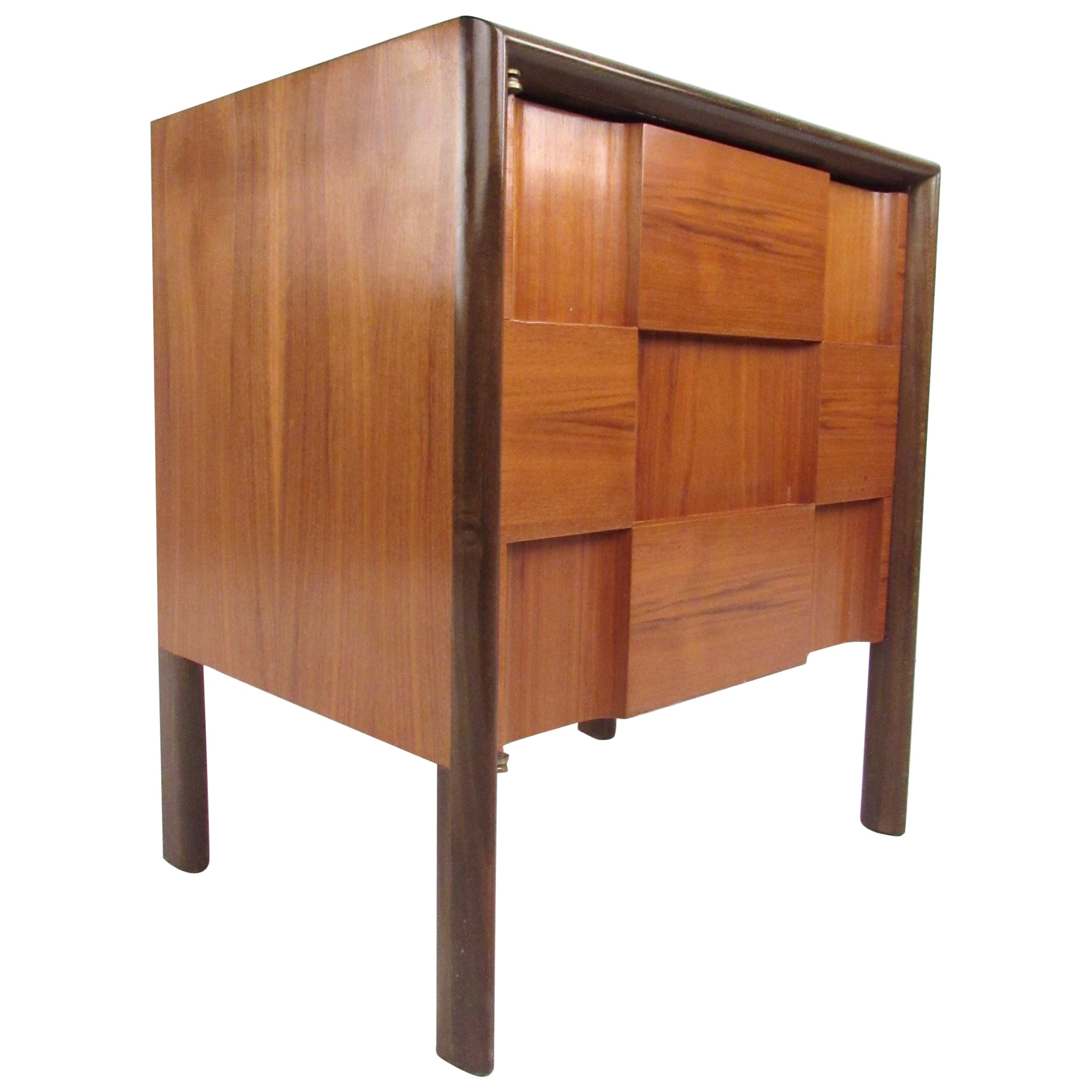 Edmond Spence Nightstand With Checkerboard Front