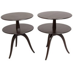 Pair of Espresso Paul Frankl Occasional Tables
