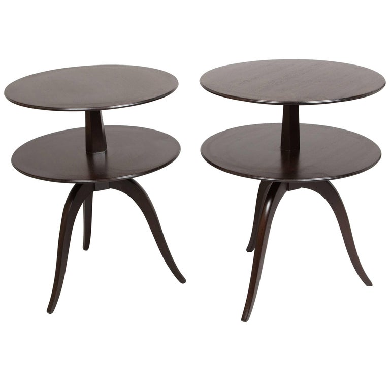 Pair of Espresso Paul Frankl Occasional Tables For Sale