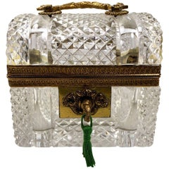 Antique French Crystal and Bronze Doré Jewel Box, circa 1870