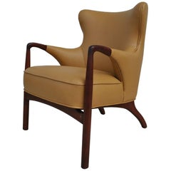 Vintage Midcentury Danish Wingback Lounge Chair