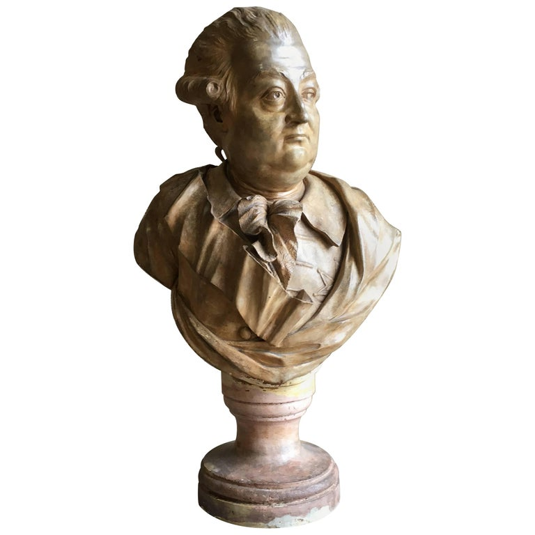 French Terracotta Bust of a Nobleman, Attributed to Houdon For Sale