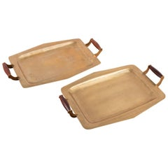 Pair of Mid-Century Brass Trays with Rosewood Handles