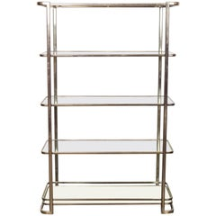 Metal and Glass Etagere Shelving Piece