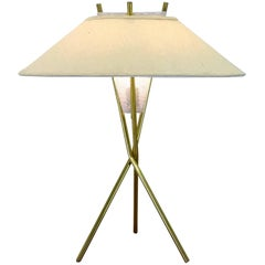 Original Tripod Table Lamp and Shade by Gerald Thurston for Lightolier