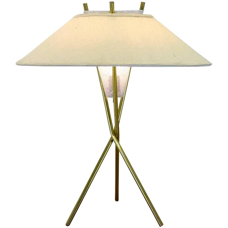 Gerald thurston for lightolier brass tripod table lamp with white original tripod table lamp and shade by gerald thurston for lightolier aloadofball Image collections