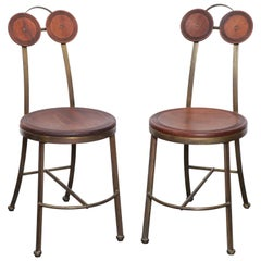 Pair of Bronze and Freijo Wood Chair by Pedro Useche