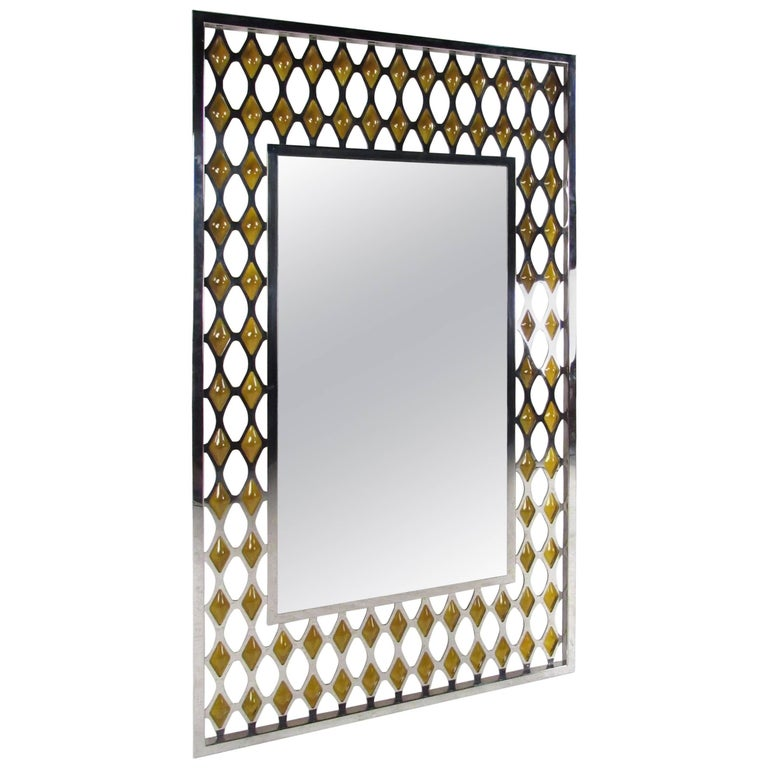 Large Midcentury Chrome and Amber Blown Glass Mirror