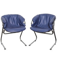 Pair of Italian Chrome Metal and Blue Leather Chairs