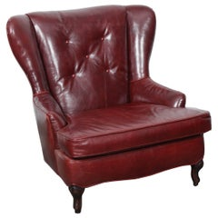 Oxblood Leather Wing Back Button Tufted Lounge Chair