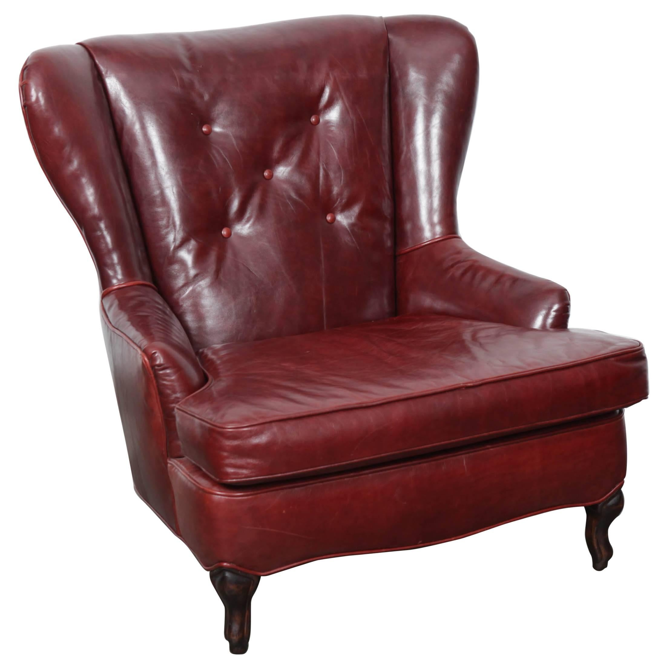 Oxblood Leather Wing Back Button Tufted Lounge Chair For Sale