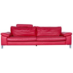 Designer Sofa Red Three-Seat Leather Modern Couch Head Rest