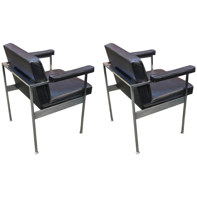 Maurice Rinck, Pair of 1960s Desk Armchairs in Leather and Chromed Metal