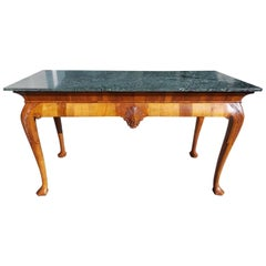English Walnut Acanthus Carved Maurin Green Marble Top Console, Circa 1830