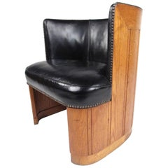Vintage Oak Barrel Back Club Chair