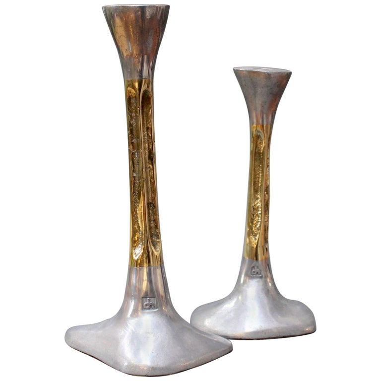 Pair of Brutalist Style Aluminium and Brass Candlesticks by David Marshall 1980s For Sale