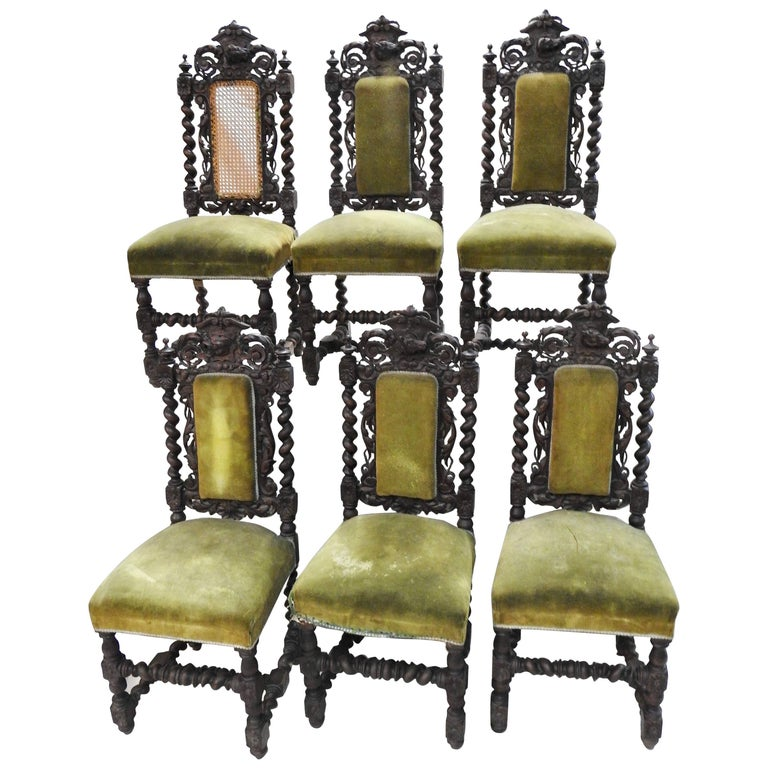 Set of Six Spanish Renaissance Revival Side Chairs