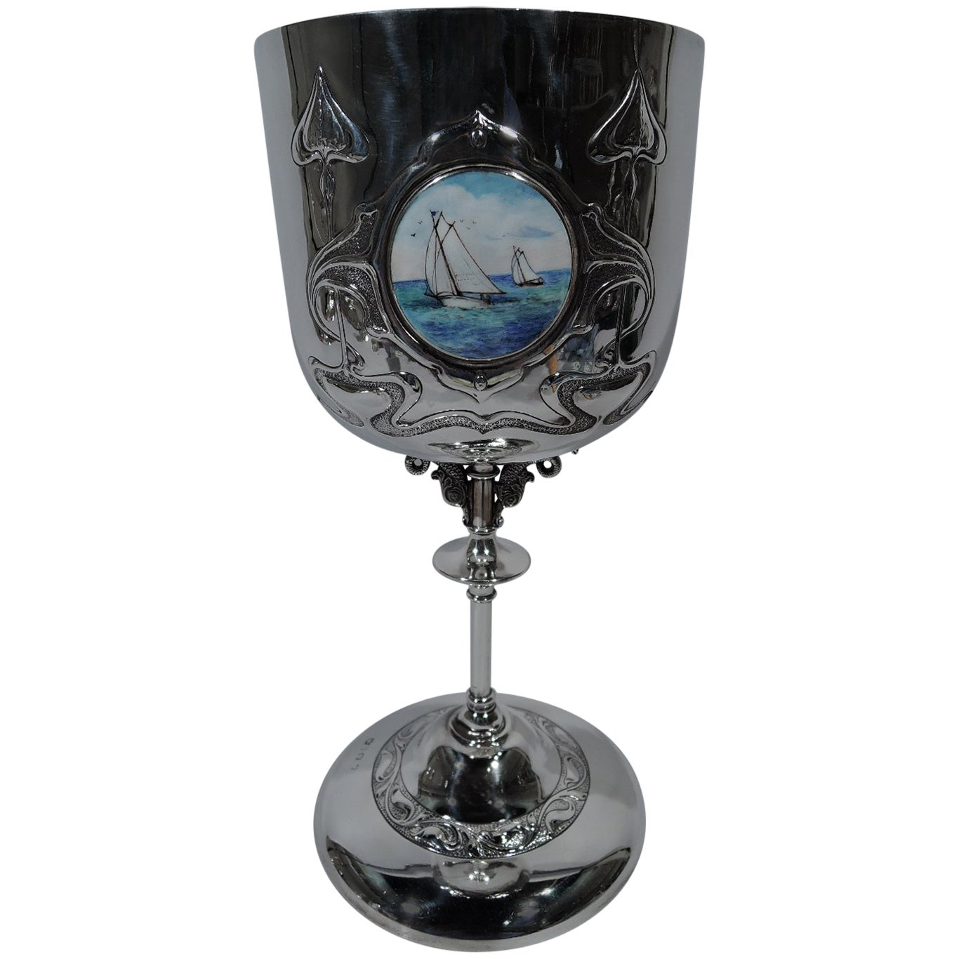 Tall Art Nouveau English Sterling Silver and Enamel Nautical Goblet