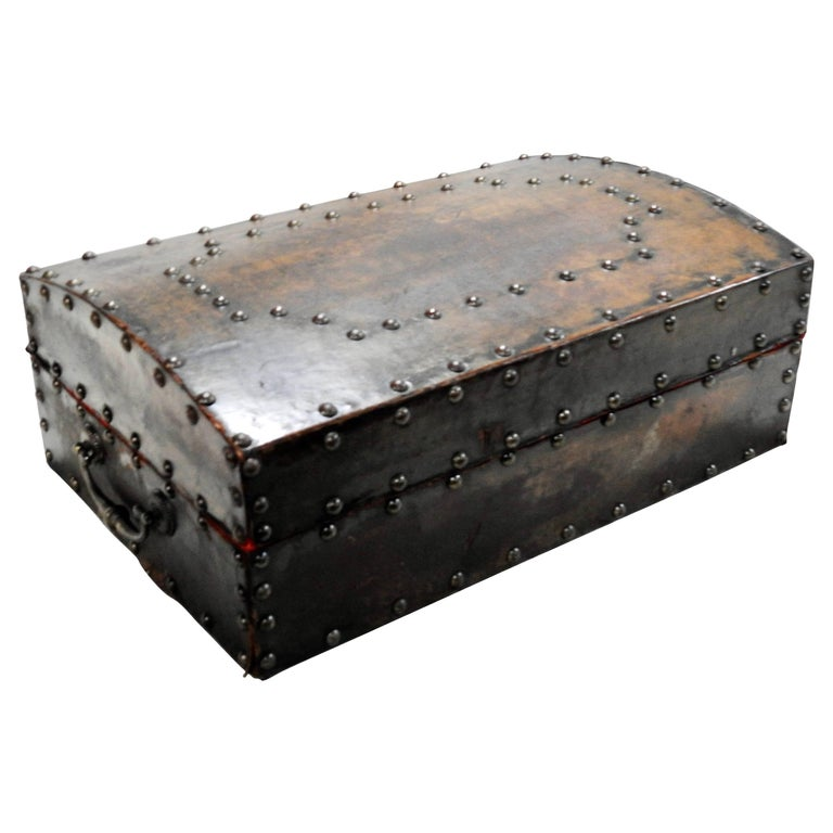 Late 19th Century Leather Box with Hammered Bronze Tacks