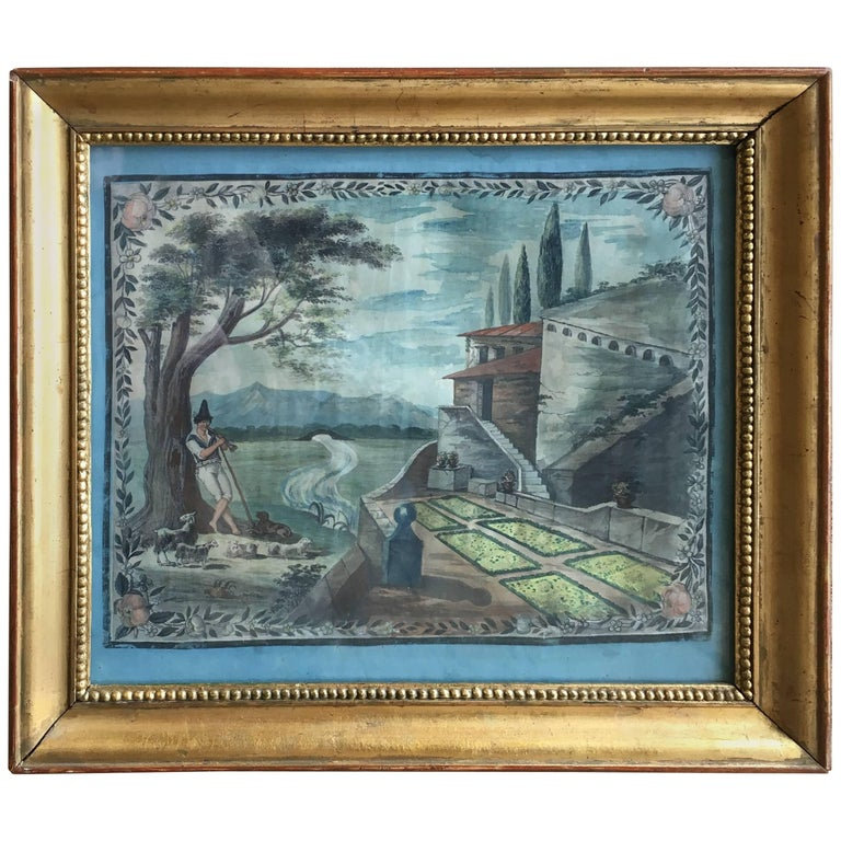 French Provincial Painted Scene of a Shepherd, 18th Century For Sale