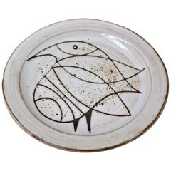 Ceramic Plate with Stylised Bird by Jacques Pouchain, circa 1950s
