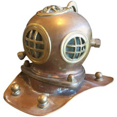 Vintage Copper, Brass & Glass Authentic Diver's Helmet Model