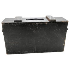Primitive Wooden Tool Box with Leather Details