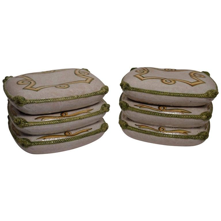 Vintage Pair of Ceramic Cushion Stools or Tables,  Italian