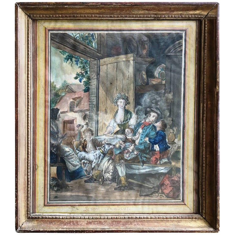 18th Century French Provincial Painting of an Interior For Sale