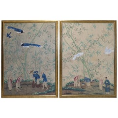 Pair of Hand Painted Chinese Wall Paper Panels