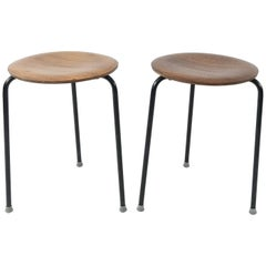 Pair of Arne Jacobson for Fritz Hansen Dot Stools