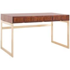 Milo Baughman Rosewood and Brass Desk