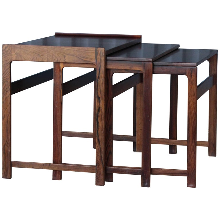 Set of Three Danish Nesting Tables in Rosewood