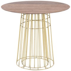 Coffee table in Wood and Brass Side Table, Brazilian Contemporary Style