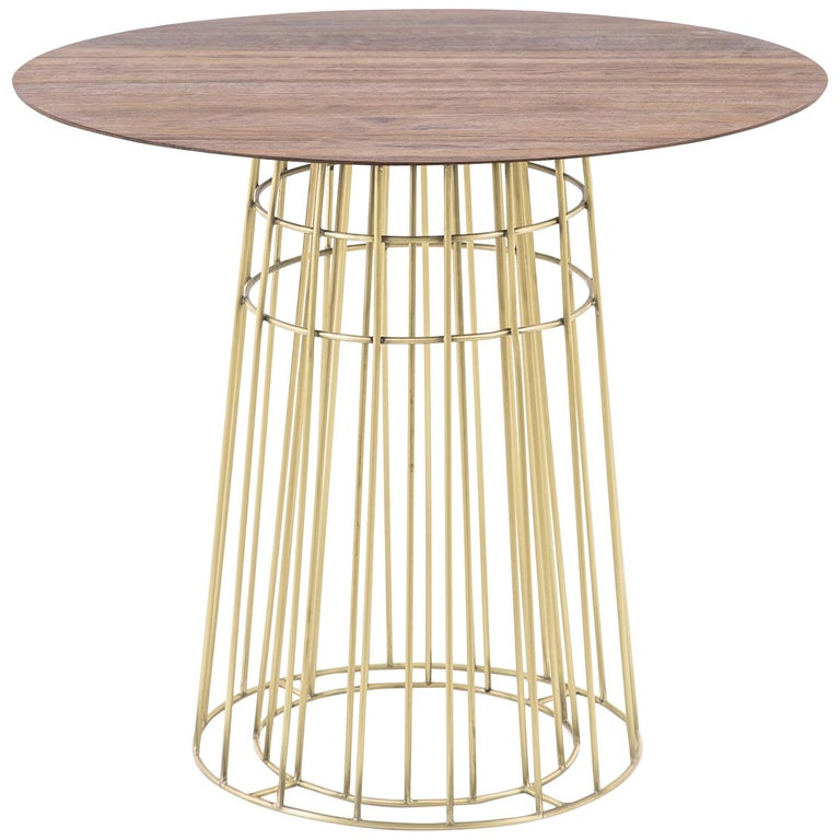 Side table in Wood and Brass Side Table, Brazilian Contemporary Style