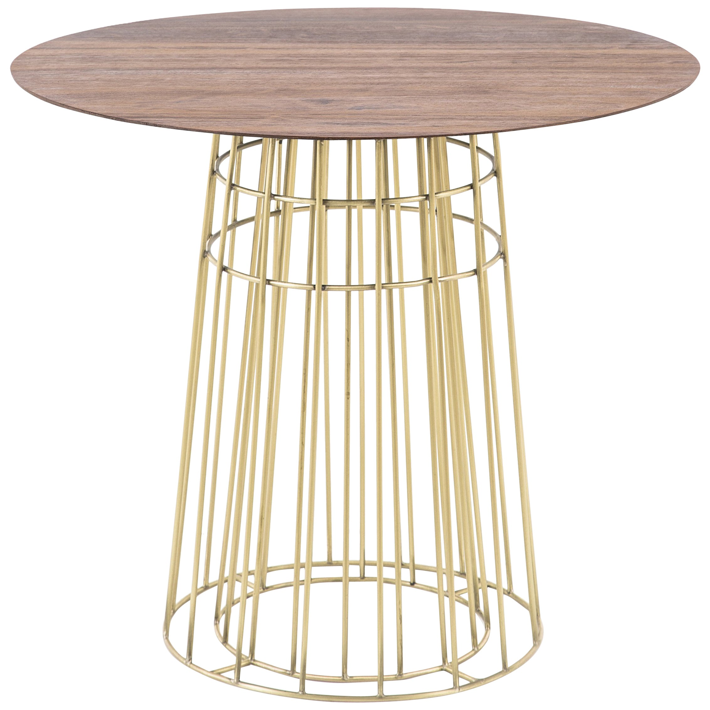 Contemporary Side table in Wood and Brass Side Table