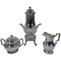 Antique Gorham Sterling Silver Tea Set with Jade-Mounted Urn