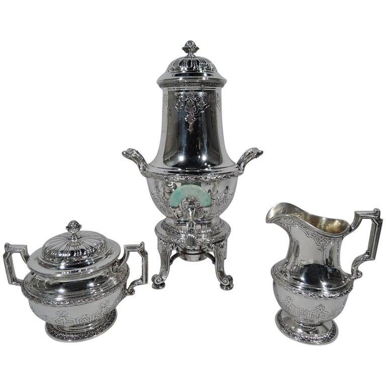 Antique Gorham Sterling Silver Tea Set with Jade-Mounted Urn