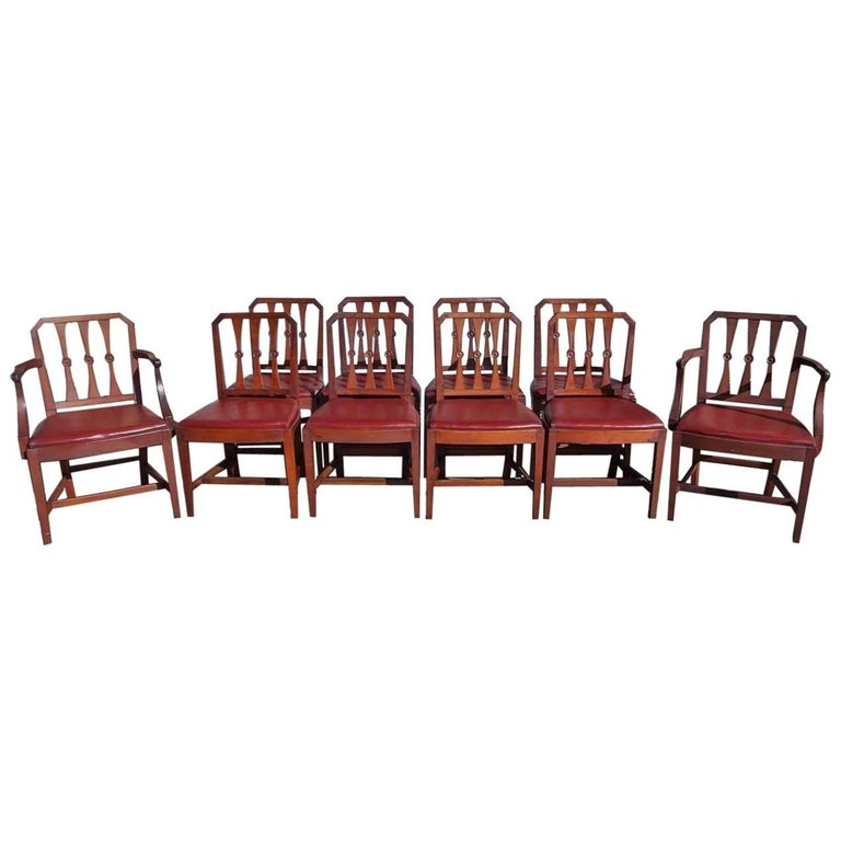 Set of Ten English Regency Mahogany Dining Chairs With Leather Seats, Circa 1800