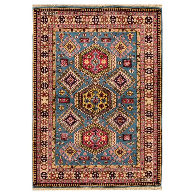 Vinatge Rust/Teal Persian Rug For Sale At 1stdibs