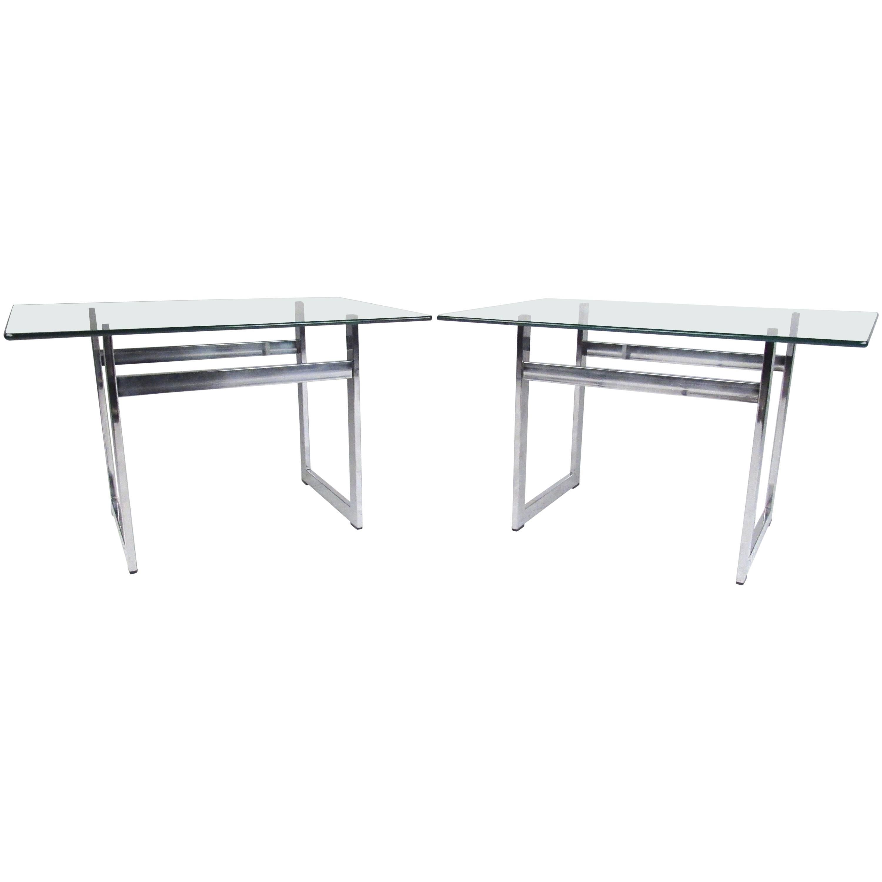 Pair of Modern Chrome and Glass End Tables