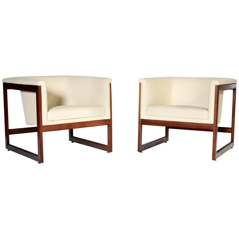 Pair of Milo Baughman Cube Club Chairs