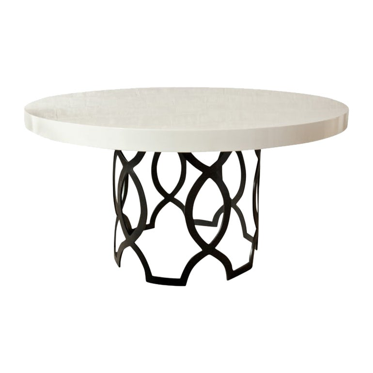 Else Dining Table with White Lacquer Top and Metal Base